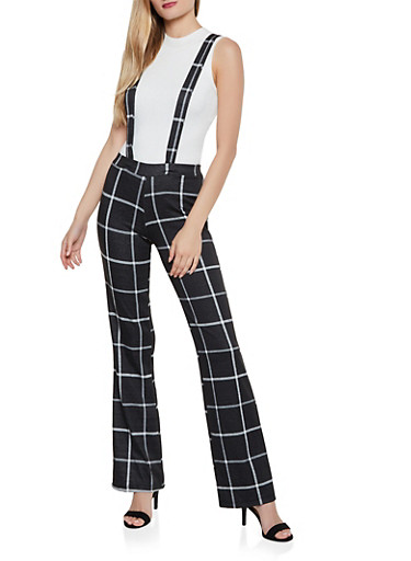Plaid Flared Suspender Pants,BLACK,large