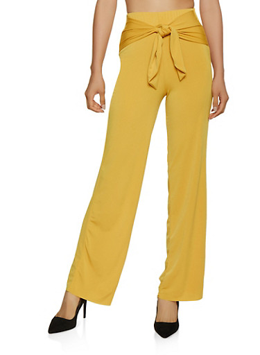 Tie Front Palazzo Pants | 3061020629063,MUSTARD,large
