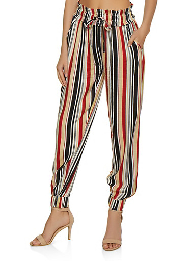 Vertical Striped Joggers,BLACK,large