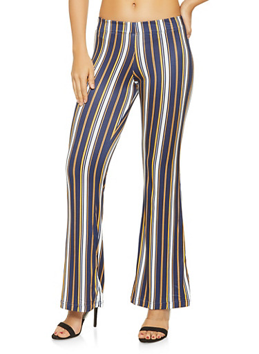Striped Soft Knit Flared Pants,NAVY,large