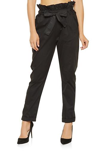 Belted Paper Bag Waist Pants,BLACK,large