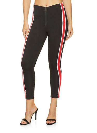 Striped Trim Skinny Pants,RED,large