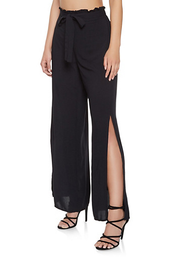 Split Leg Palazzo Pants,BLACK,large