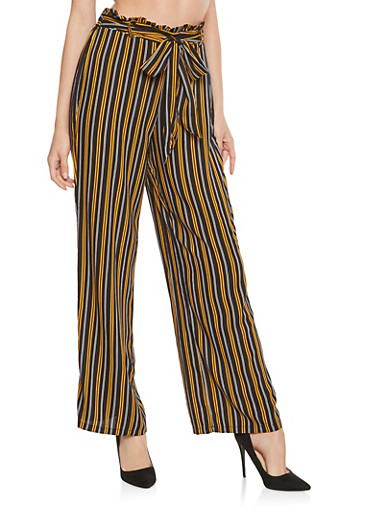 Striped Ruffle Waist Palazzo Pants,BLACK,large