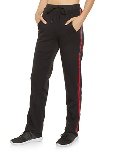 Striped Ribbon Tape Sweatpants,BLACK,large