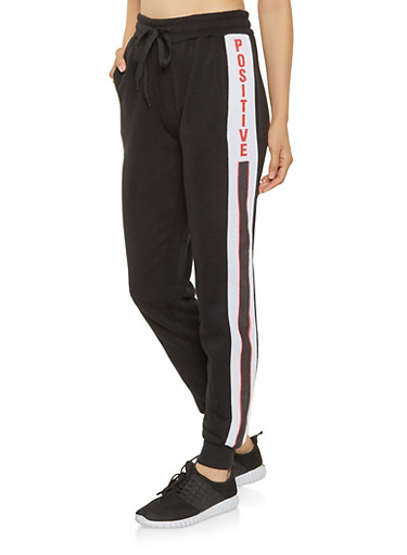 Graphic Fleece Lined Sweatpants,BLACK,large