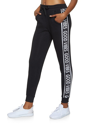 Good Vibes Graphic Joggers,BLACK,large