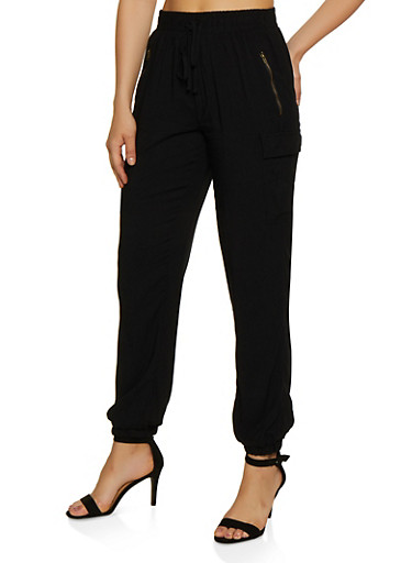 Solid Cargo Joggers,BLACK,large