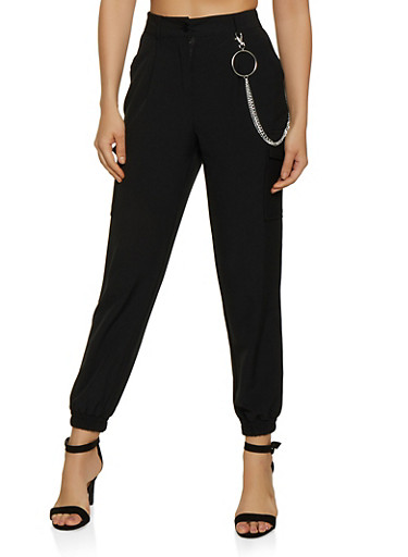 Chain Detail Cargo Joggers,BLACK,large