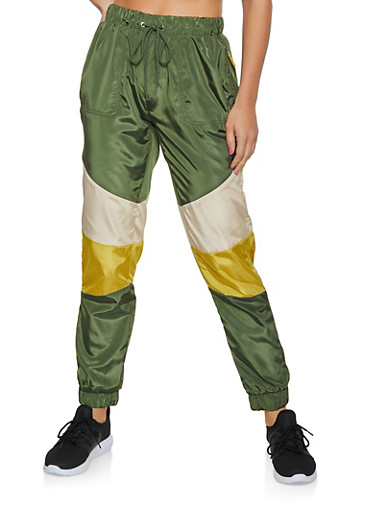 Color Block Windbreaker Joggers | 3061051064367,OLIVE,large