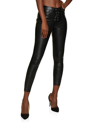 Lace Up Faux Leather Pants,BLACK,large