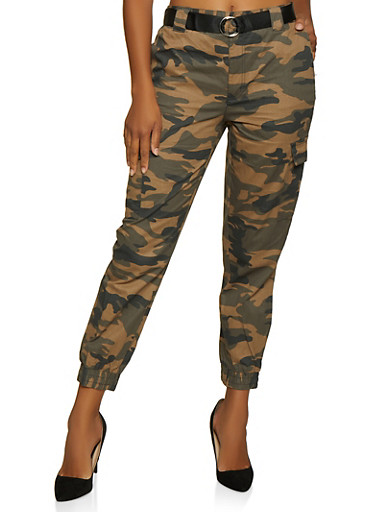 Camo Belted Cargo Joggers,OLIVE,large