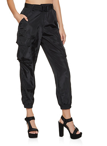 High Waisted Cargo Joggers,BLACK,large