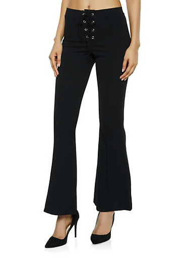 Lace Up Pintuck Flared Pants,BLACK,large