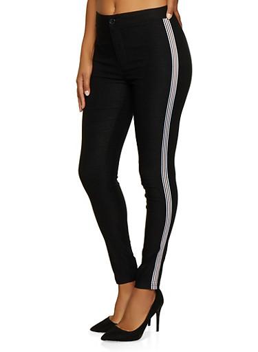 Striped Tape Trim Stretch Pants,BLACK,large