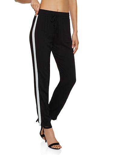 Stripe Detail Casual Pants,BLACK,large