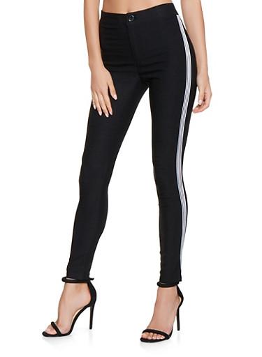 Striped Side Tape Skinny Pants,BLACK,large