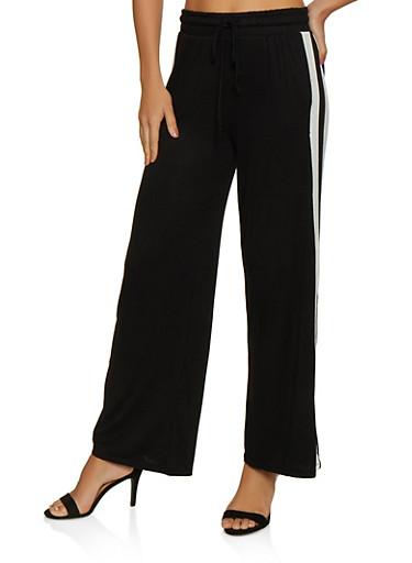 Striped Detail Wide Leg Pants,BLACK,large