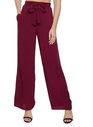 Tie Front Palazzo Pants | 3061054261120,WINE,large