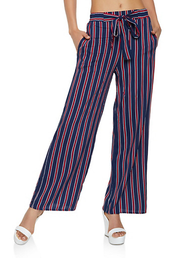 Striped Tie Front Palazzo Pants | 3061054261211,NAVY,large