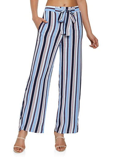 Striped Tie Front Palazzo Pants | 3061054261213,BLUE,large