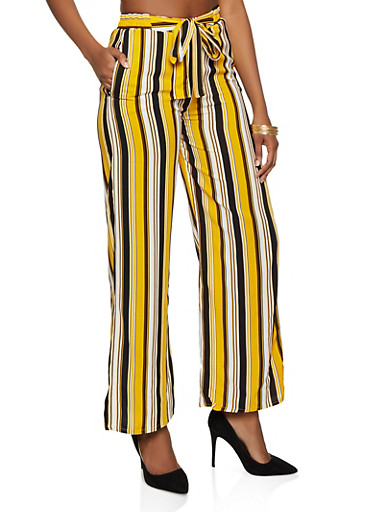 Multi Stripe Palazzo Pants,BLACK,large