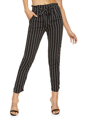 Striped Tie Front Pants,BLACK/WHITE,large