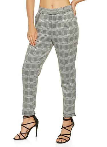 Plaid Dress Pants,BLACK/WHITE,large