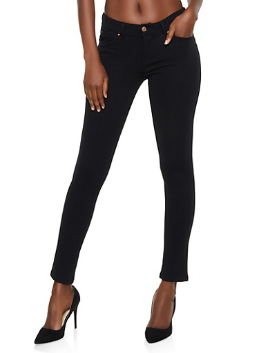 Push Up Ponte Skinny Pants,BLACK,large