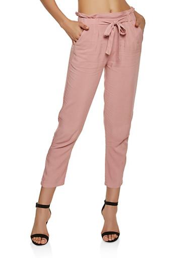 Solid Tie Front Pants,MAUVE,large