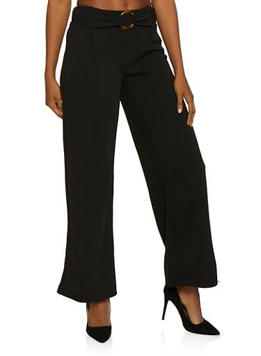 O Ring Detail Flared Dress Pants,BLACK,large