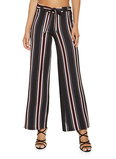 Striped Tie Front Palazzo Pants,WINE,large