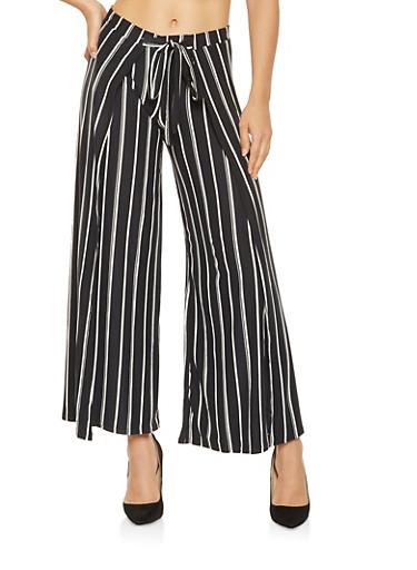 Split Leg Striped Palazzo Pants,BLACK/WHITE,large
