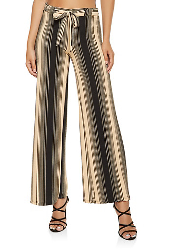 Striped Tie Front Palazzo Pants,KHAKI,large