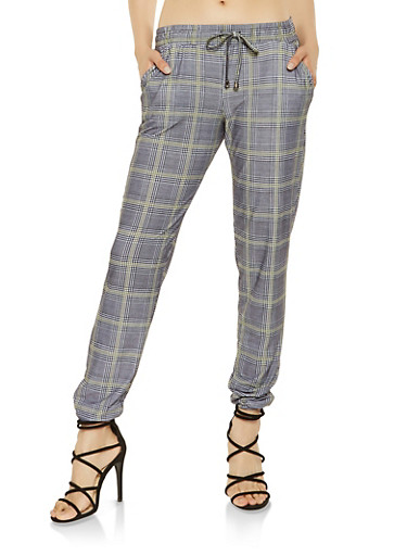 Soft Knit Plaid Joggers,GRAY,large