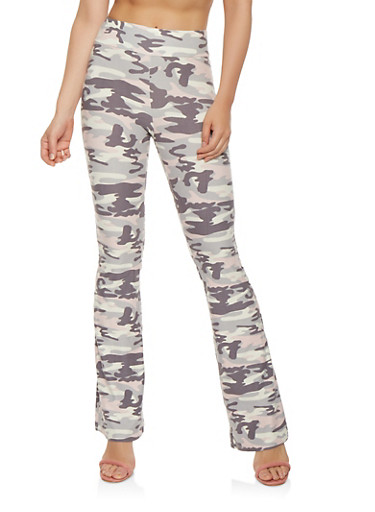 Soft Knit Camo Flared Pants,GRAY,large
