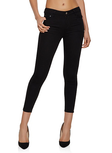 Twill Skinny Pants | 3061062124001,BLACK,large