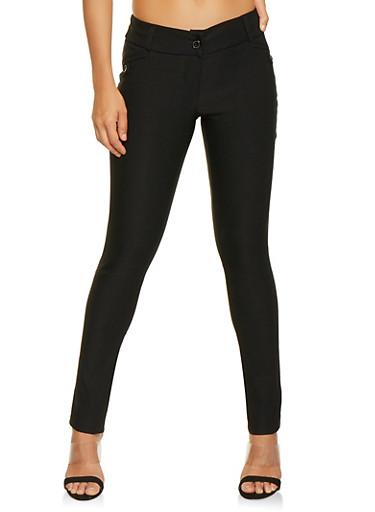 Solid Stretch Dress Pants,BLACK,large