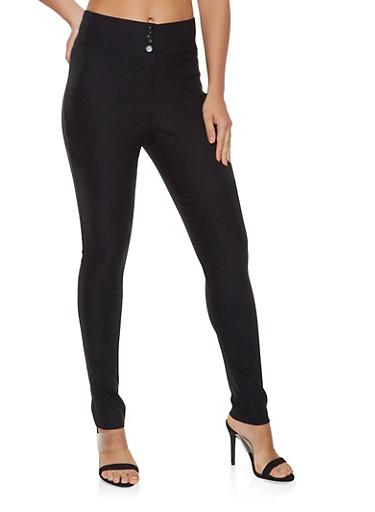 High Waisted Dress Pants,BLACK,large