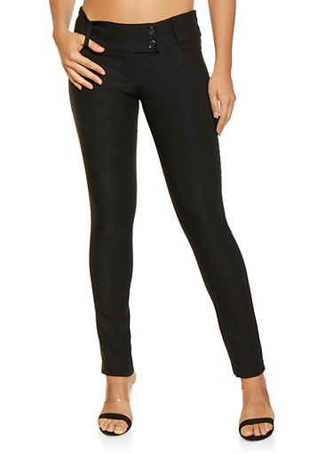 Two Button Stretch Dress Pants,BLACK,large