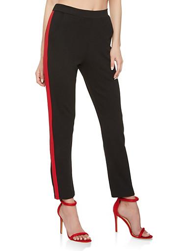 Side Stripe Dress Pants,RED,large