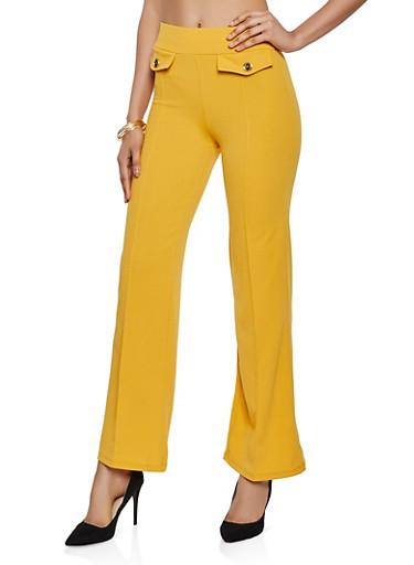 Crepe Knit Pintuck Dress Pants,MUSTARD,large