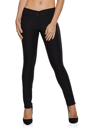 Stretch Two Button Skinny Pants,BLACK,large