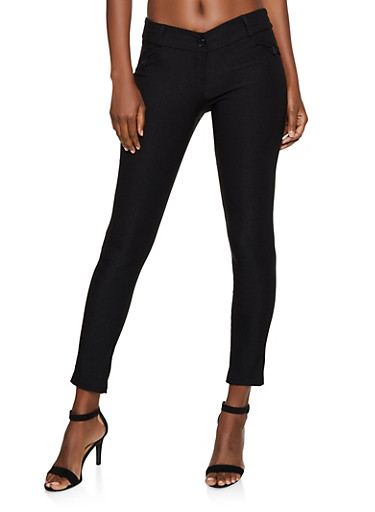 Solid Skinny Stretch Pants,BLACK,large