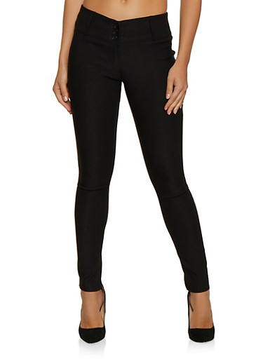 3 Button Skinny Dress Pants,BLACK,large