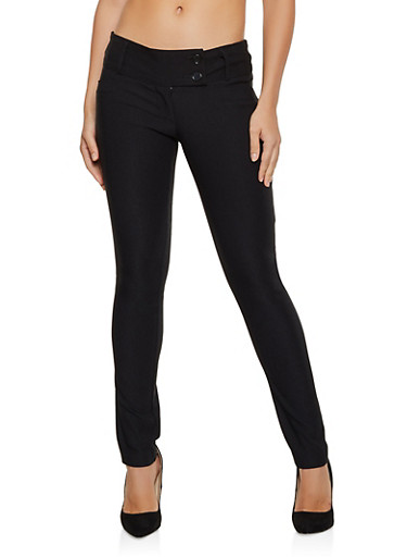 2 Button Tabbed Waist Skinny Pants,BLACK,large