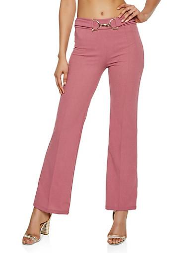 Pintuck Metallic Detail Dress Pants,MAUVE,large