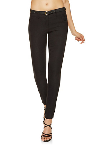 Belted Stretch Pants,BLACK,large