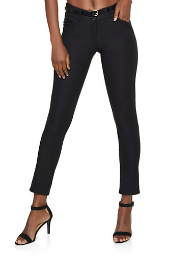 Belted Skinny Dress Pants,BLACK,large