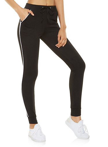 Contrast Trim Sweatpants,BLACK,large